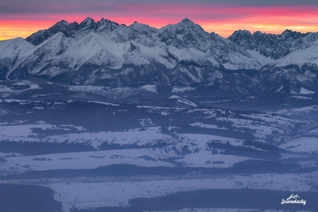 Turbacz panorama Tatr wschód słońca
